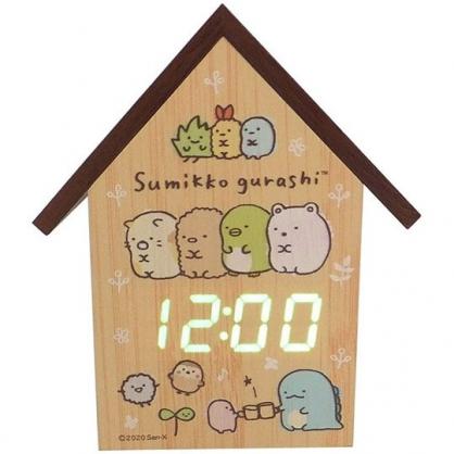 小禮堂 角落生物 房屋造型木質電子鬧鐘 LED鬧鐘 木時鐘 桌鐘 溫度計 (棕 排坐)