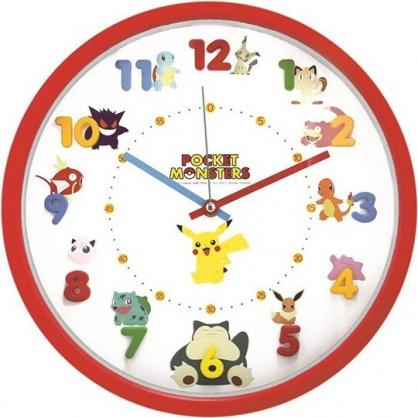 小禮堂 神奇寶貝 連續秒針圓形壁掛鐘 壁鐘 時鐘 (紅 立體數字)