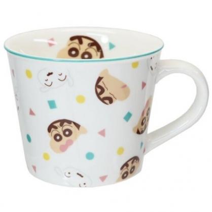 小禮堂 蠟筆小新 陶瓷馬克杯 寬口杯 咖啡杯 陶瓷杯 (白綠 滿版)