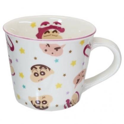 小禮堂 蠟筆小新 陶瓷馬克杯 寬口杯 咖啡杯 陶瓷杯 (白桃 滿版)
