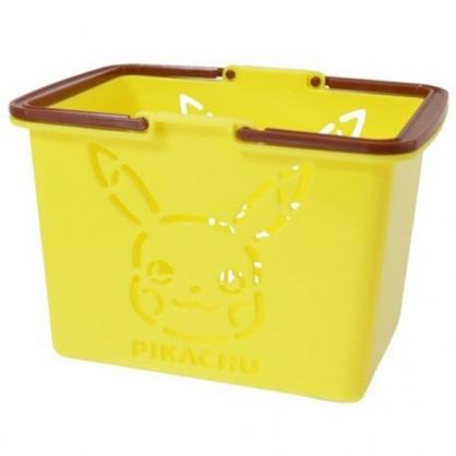小禮堂 神奇寶貝 日製 迷你塑膠手提置物籃 筆筒 刷具筒 小物收納 (黃 大臉)