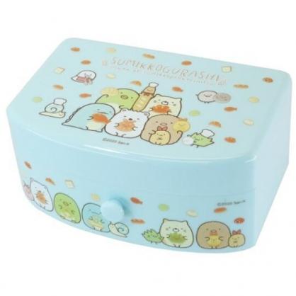 小禮堂 角落生物 方形塑膠附鏡抽屜盒 化妝鏡盒 飾品盒 小物收納盒 (藍 麵包)