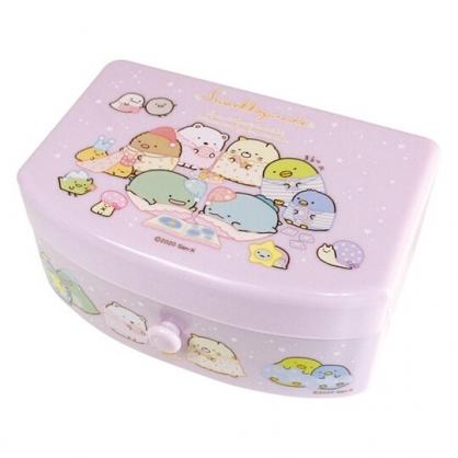 小禮堂 角落生物 方形塑膠附鏡抽屜盒 化妝鏡盒 飾品盒 小物收納盒 (粉 睡衣)