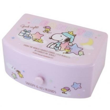 小禮堂 史努比 方形塑膠附鏡抽屜盒 化妝鏡盒 飾品盒 小物收納盒 (粉 睡衣)