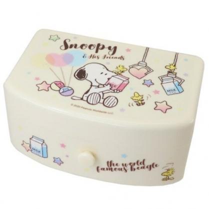 小禮堂 史努比 方形塑膠附鏡抽屜盒 化妝鏡盒 飾品盒 小物收納盒 (黃 牛奶)