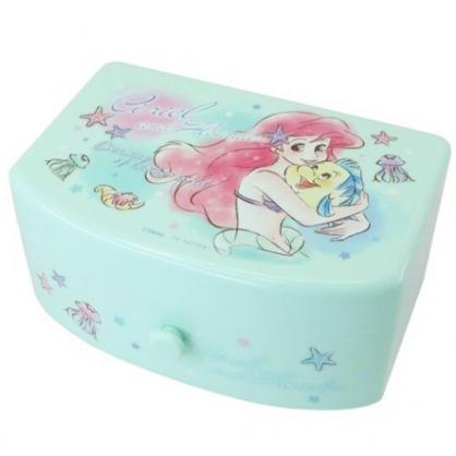 小禮堂 迪士尼 小美人魚 方形塑膠附鏡抽屜盒 化妝鏡盒 飾品盒 小物收納盒 (綠 抱抱)