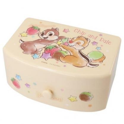 小禮堂 迪士尼 奇奇蒂蒂 方形塑膠附鏡抽屜盒 化妝鏡盒 飾品盒 小物收納盒 (棕 水果)