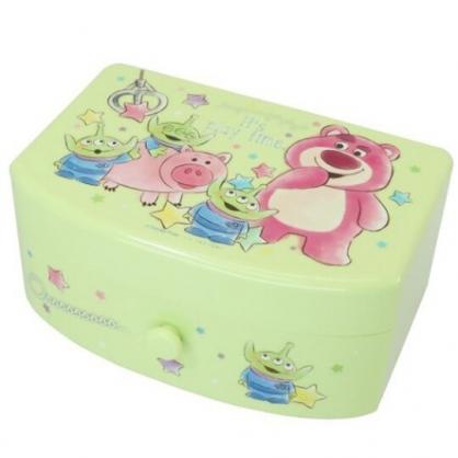 小禮堂 迪士尼 玩具總動員 方形塑膠附鏡抽屜盒 化妝鏡盒 飾品盒 小物收納盒 (綠 夾娃娃)