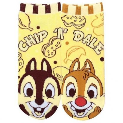 小禮堂 迪士尼 奇奇蒂蒂 成人短襪 隱形襪 及踝襪 船形襪 腳長22-24cm (黃 大臉)