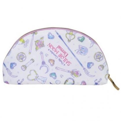 小禮堂 美少女戰士 半圓尼龍化妝包 皮質筆袋 隨身收納包 小物包 (白紫 滿版)