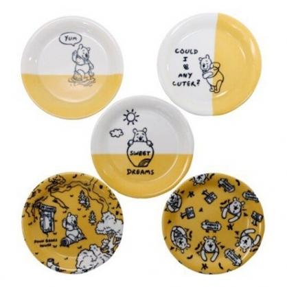 小禮堂 迪士尼 小熊維尼 日製 陶瓷圓盤組 蛋糕盤 點心盤 陶瓷盤 淺盤 (黃 滿版)