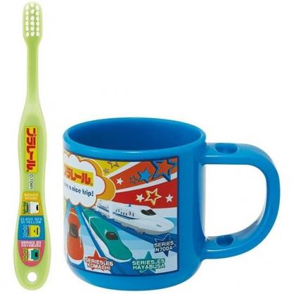 小禮堂 鐵道王國 日製 兒童牙刷漱口杯組 旅行牙刷組 附牙刷蓋 3-5歲適用 (藍 介紹)