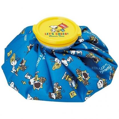 小禮堂 史努比 圓筒型尼龍冰敷袋 冰枕 退熱袋 (藍黃 旗子)