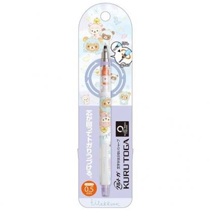 小禮堂 懶懶熊 旋轉筆芯自動鉛筆 自動筆 0.5mm KURUTOGA (紫 恐龍裝)