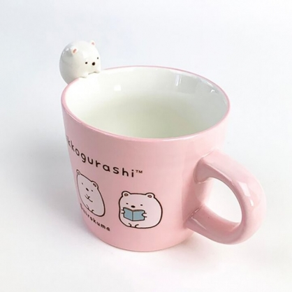 小禮堂 角落生物 北極熊 造型陶瓷馬克杯 寬口杯 咖啡杯 陶瓷杯 (粉 杯邊玩偶)