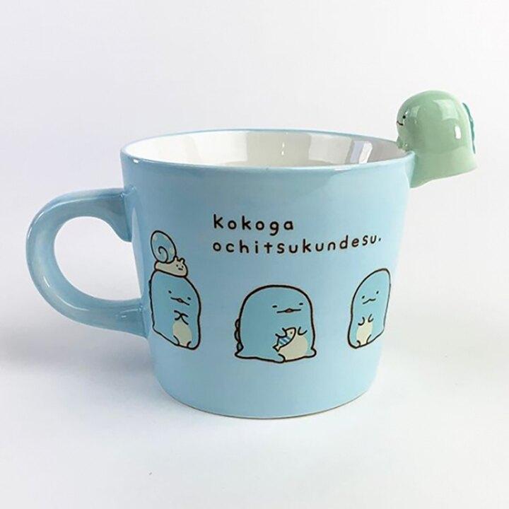 小禮堂 角落生物 恐龍 造型陶瓷馬克杯 寬口杯 咖啡杯 陶瓷杯 (藍 杯邊玩偶)