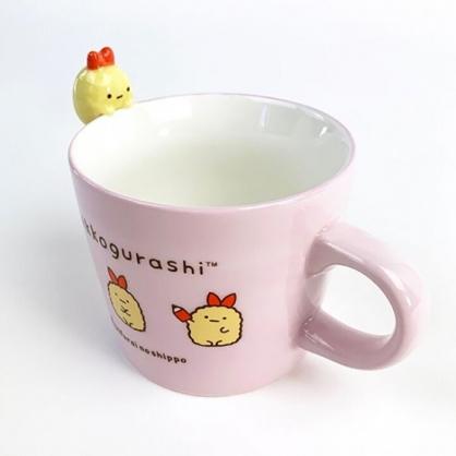 小禮堂 角落生物 炸蝦 造型陶瓷馬克杯 寬口杯 咖啡杯 陶瓷杯 (粉 杯邊玩偶)