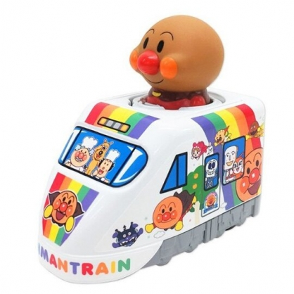 小禮堂 麵包超人 造型列車玩具 迴力車玩具 塑膠玩具 汽車玩具 (橘白 大臉)