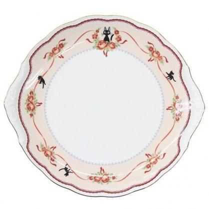 小禮堂 宮崎駿 魔女宅急便 造型骨瓷圓盤 沙拉盤 點心盤 陶瓷盤 淺盤 (紅白 玫瑰)