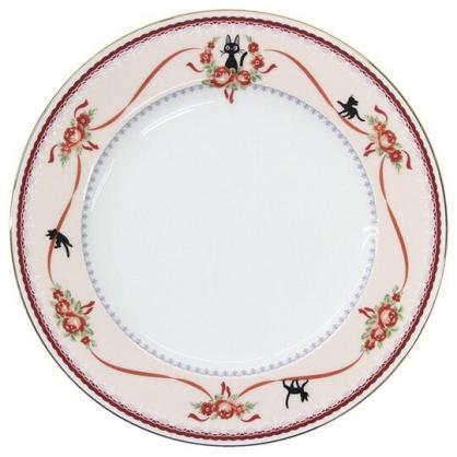 小禮堂 宮崎駿 魔女宅急便 骨瓷圓盤 沙拉盤 點心盤 陶瓷盤 淺盤 (紅白 玫瑰)