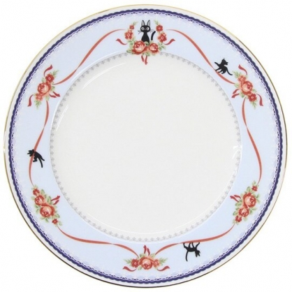 小禮堂 宮崎駿 魔女宅急便 骨瓷圓盤 沙拉盤 點心盤 陶瓷盤 淺盤 (藍白 玫瑰)