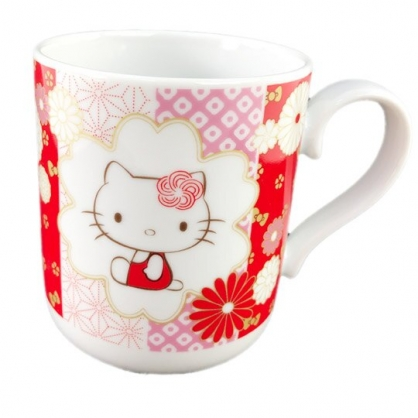 小禮堂 Hello Kitty 日製 陶瓷馬克杯 寬口杯 咖啡杯 陶瓷杯 YAMAKA陶瓷 (紅金 花朵)