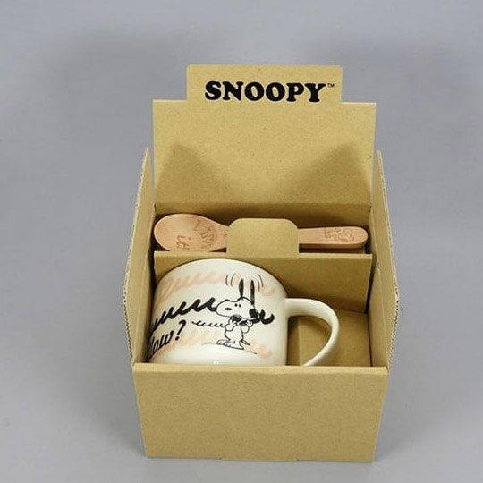 小禮堂 史努比 日製 陶瓷馬克杯 附木匙 寬口杯 咖啡杯 350ml YAMAKA陶瓷 (米 電話)
