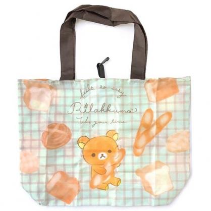 小禮堂 懶懶熊 折疊尼龍環保購物袋 環保袋 側背袋 (綠棕 麵包)