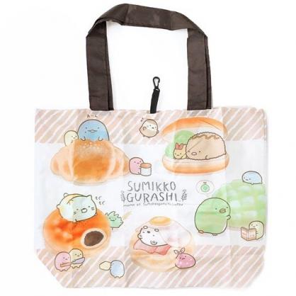 小禮堂 角落生物 折疊尼龍環保購物袋 環保袋 側背袋 (棕白 麵包)