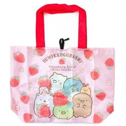 小禮堂 角落生物 折疊尼龍環保購物袋 環保袋 側背袋 (紅粉 草莓)