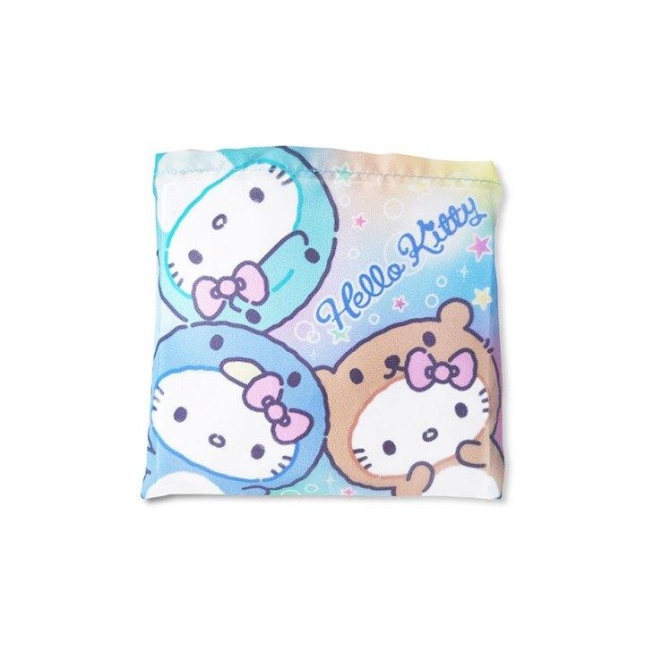 小禮堂 Hello Kitty 折疊尼龍環保購物袋 環保袋 側背袋 手提袋 (藍紫 動物裝)