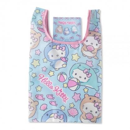 小禮堂 Hello Kitty 折疊尼龍環保購物袋 環保袋 側背袋 手提袋 (藍粉 動物裝)