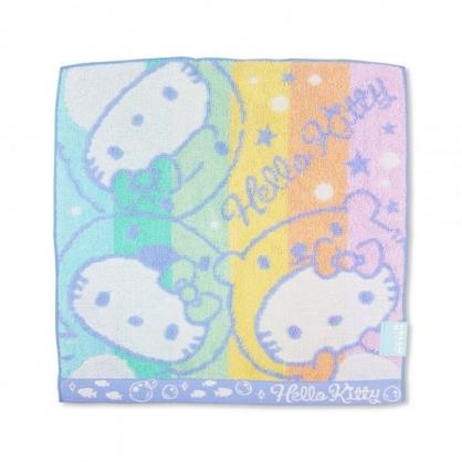小禮堂 Hello Kitty 純棉無捻紗方巾 手帕 小毛巾 25x25cm (粉藍 動物裝)