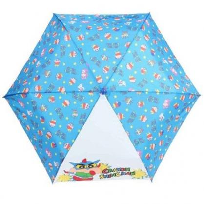 小禮堂 蠟筆小新 彎把防風傘骨折疊傘 防風折傘 折傘 雨傘 (藍白 滿版)