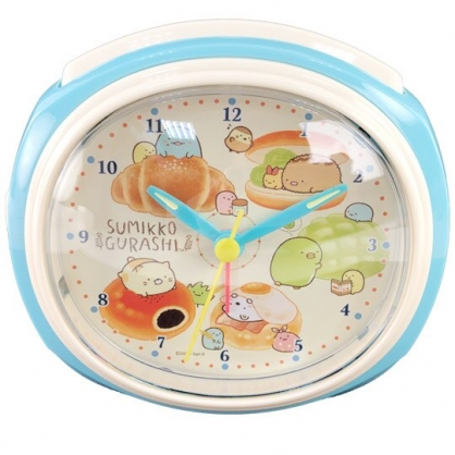 小禮堂 角落生物 連續秒針圓形鬧鐘 塑膠時鐘 桌鐘 (藍棕 麵包)