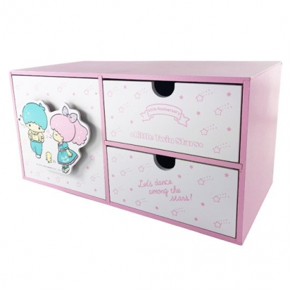 小禮堂 雙子星 橫式木質三抽收納櫃 抽屜櫃 小木櫃 桌上型收納櫃 (粉綠 45週年)