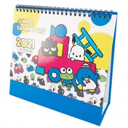 小禮堂 Sanrio大集合 2021線圈式桌曆 行事曆 月曆 年曆 (藍黃 車車)