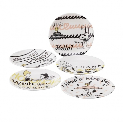 小禮堂 史努比 日製 陶瓷圓盤組 沙拉盤 點心盤 陶瓷盤 YAMAKA陶瓷 (5入 黑白 文字)