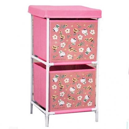 小禮堂 Hello Kitty 雙層抽屜式鐵架收納籃 不織布收納籃 抽屜架 衣物籃 (桃 花朵)