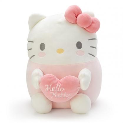 小禮堂 Hello Kitty 造型絨毛抱枕 麻糬娃娃 絨毛靠枕 絨毛玩偶 (粉白 抱愛心)