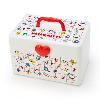 小禮堂 Hello Kitty 方形塑膠手提收納箱 工具箱 藥箱 針線箱 (紅白 格線)