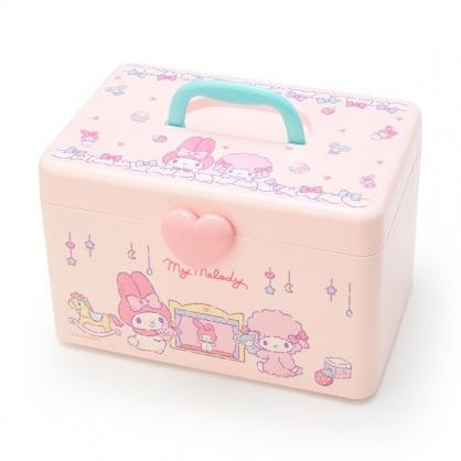 小禮堂 美樂蒂 方形塑膠手提收納箱 工具箱 藥箱 針線箱 (粉綠 草莓)