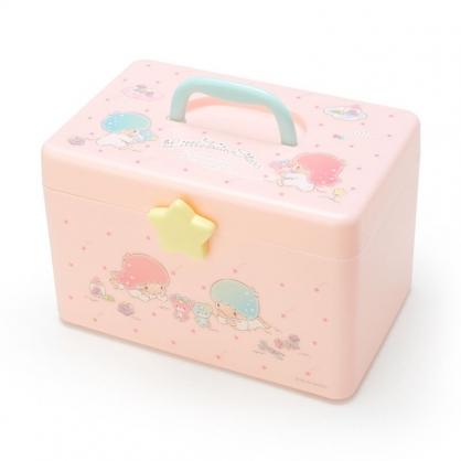 小禮堂 雙子星 方形塑膠手提收納箱 工具箱 藥箱 針線箱 (粉綠 星星)