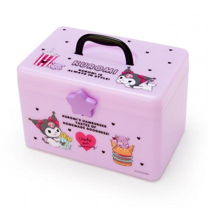 小禮堂 酷洛米 方形塑膠手提收納箱 工具箱 藥箱 針線箱 (紫黑 薯條)