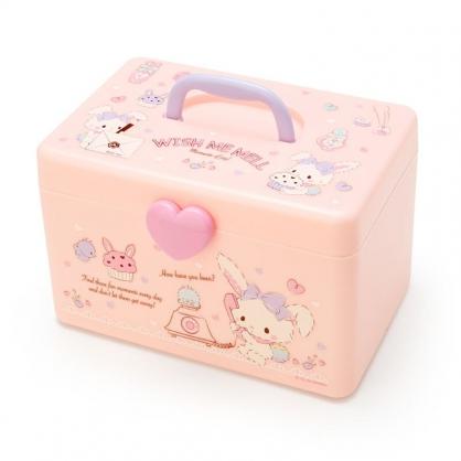 小禮堂 許願兔 方形塑膠手提收納箱 工具箱 藥箱 針線箱 (粉紫 電話)