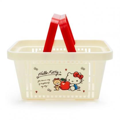 小禮堂 Hello Kitty 塑膠手提置物籃 購物提籃 浴室收納籃 瓶罐架 (米紅 蘋果)