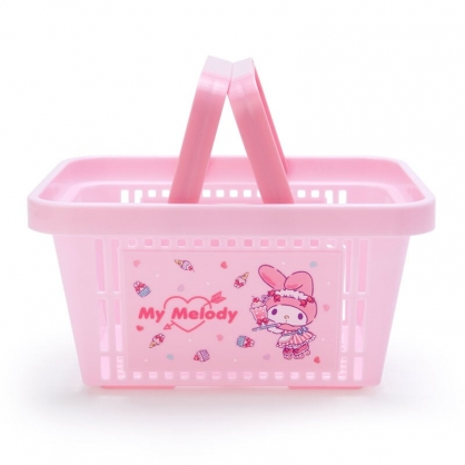 小禮堂 美樂蒂 塑膠手提置物籃 購物提籃 浴室收納籃 瓶罐架 (粉 服務生)