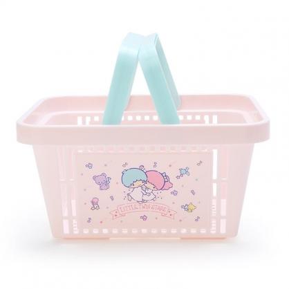 小禮堂 雙子星 塑膠手提置物籃 購物提籃 浴室收納籃 瓶罐架 (粉藍 星星)