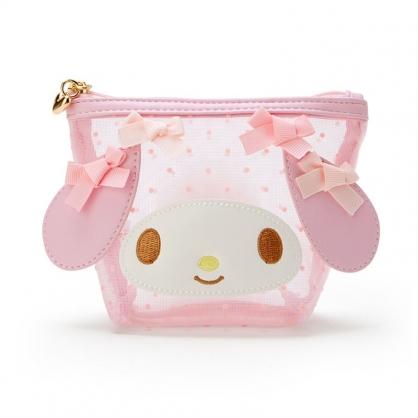 小禮堂 美樂蒂 造型網紗化妝包 透明化妝包 船形化妝包 小物包 (粉 大臉)