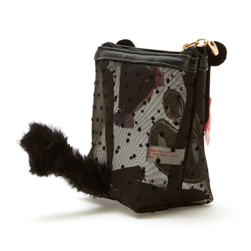 小禮堂 酷洛米 造型網紗化妝包 透明化妝包 船形化妝包 小物包 (黑 大臉)